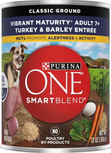 Purina ONE SmartBlend Vibrant Maturity 7+ Turkey & Barley Entree Classic Ground Wet Dog Food Perspective: front