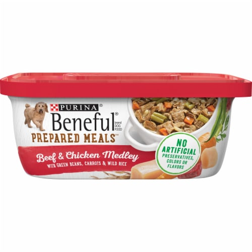 Beneful Prepared Meals Beef & Chicken Medley Wet Dog Food 8 Count Perspective: front