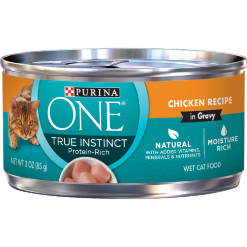 Purina ONE Natural High Protein True Instinct Chicken Recipe Gravy Wet Cat Food Perspective: front