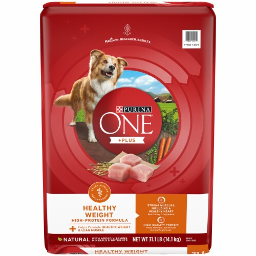 Purina ONE SmartBlend Healthy Weight High Protein Formula Natural Dry Adult Dog Food Perspective: front
