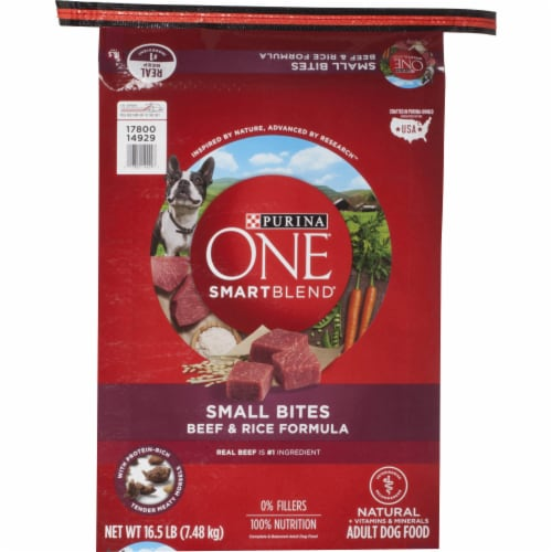 Purina ONE SmartBlend Small Bites Beef & Rice Formula Natural Dry Dog Food Perspective: front