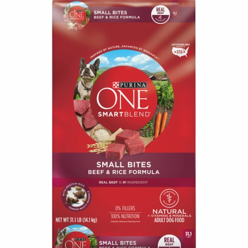 Purina ONE SmartBlend Small Bites Beef & Rice Adult Dry Dog Food Perspective: front