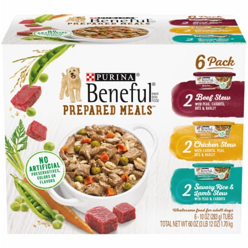 Beneful Prepared Meals Wet Dog Food Variety Pack 6 Count Perspective: front