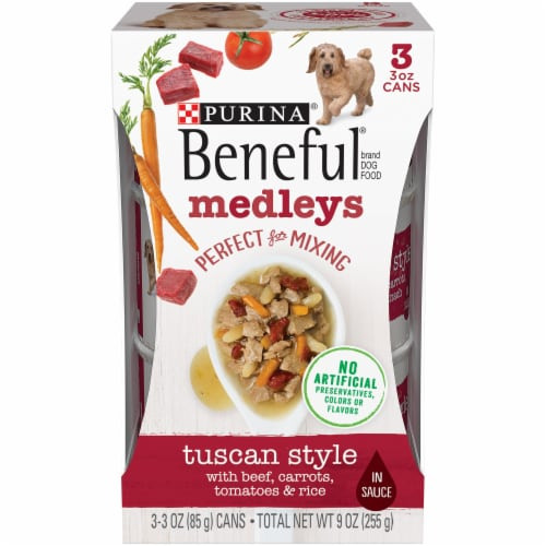 Beneful Medleys Tuscan Style with Beef Carrots Rice & Spinach in Sauce Wet Dog Food Perspective: front