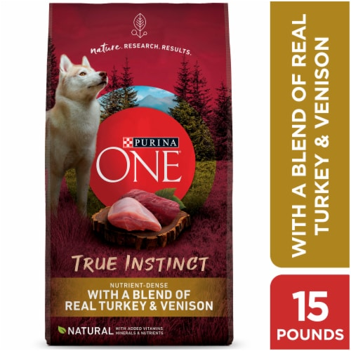 Purina ONE SmartBlend True Instinct with Real Turkey & Venison High Protein Natural Dry Dog Food Perspective: front