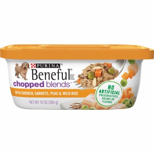 Beneful Chicken Carrots Peas & Wild Rice Chopped Blends Wet Dog Food Perspective: front