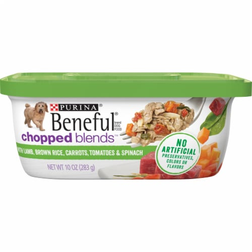 Beneful Chopped Blends Lamb Brown Rice Carrots Tomatoes & Spinach Wet Dog Food Perspective: front