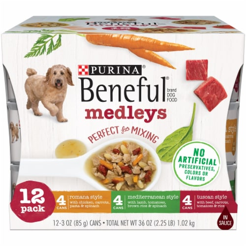 Beneful Medleys Tuscan Romana and Mediterranean Style Wet Dog Food Variety Pack Perspective: front
