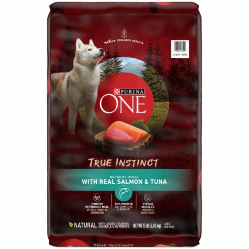 Purina ONE SmartBlend True Instinct with Real Salmon & Tuna Natural Dry Dog Food Perspective: front