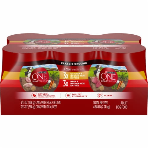 Purina ONE SmartBlend Chicken Entree & Beef Entree Wet Adult Dog Food Variety Pack Perspective: front