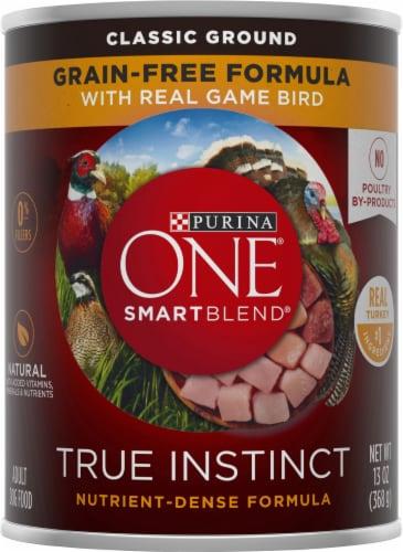 Purina ONE SmartBlend True Instinct Grain-Free Formula Real Gamebird Classic Ground Wet Dog Food Perspective: front