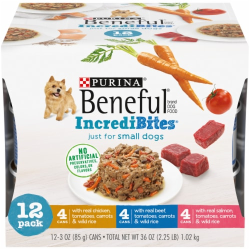 Beneful IncrediBites Small Breed Wet Dog Food Variety Pack Perspective: front
