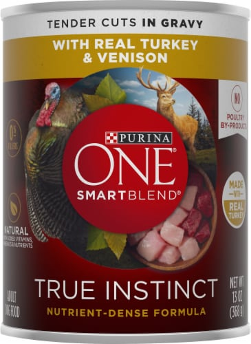 Purina ONE SmartBlend True Instinct Real Turkey & Venison in Gravy Adult Wet Dog Food Perspective: front