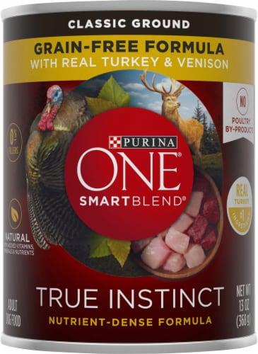 Purina ONE SmartBlend True Instinct Classic Ground Turkey & Venison Adult Dog Food Perspective: front
