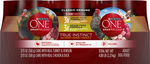 Purina ONE SmartBlend True Instinct Grain Free Classic Ground Wet Dog Food Variety Pack Perspective: front
