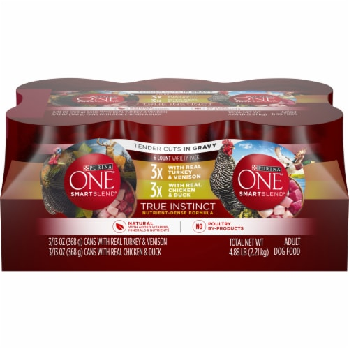 Purina ONE SmartBlend True Instinct Tender Cuts Natural Gravy Wet Dog Food Variety Pack Perspective: front