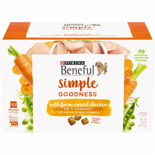 Beneful Simple Goodness Chicken Dog Food Pouches Perspective: front