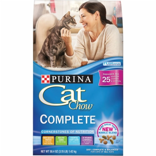 Purina Cat Chow Complete Balance 3.15 Lb. Kibble Blend All Ages Dry Cat Food Perspective: front