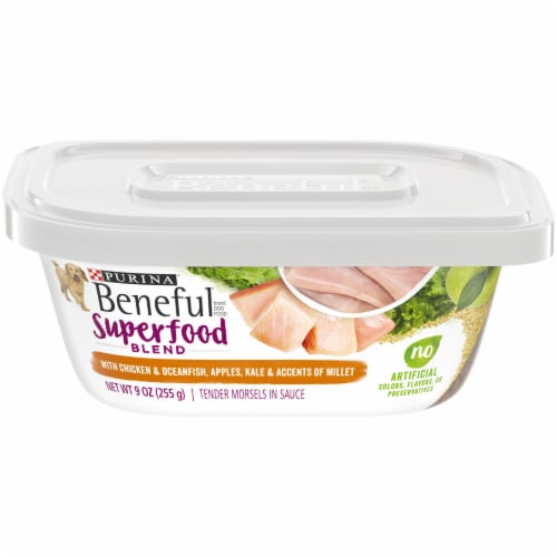 Benful Superfood Blend Tender Chicken & Oceanfish Morsels in Sauce Wet Dog Food Case Perspective: front