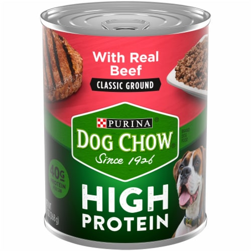 Dog Chow High Protein with Real Classic Ground Beef Wet Dog Food Perspective: front