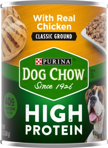 Dog Chow High Protein with Real Classic Ground Chicken Wet Dog Food Perspective: front