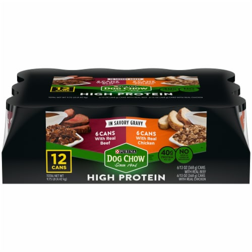 Purina Dog Chow High Protein Beef and Chicken Wet Dog Food Variety Pack 12 Count Perspective: front