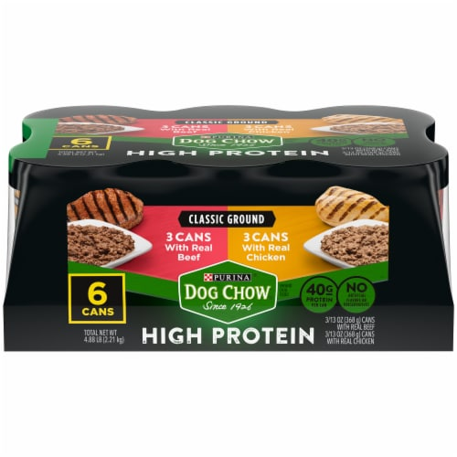 Dog Chow High Protein with Real Classic Ground Beef & Chicken Wet Dog Food (6 Pack) Perspective: front
