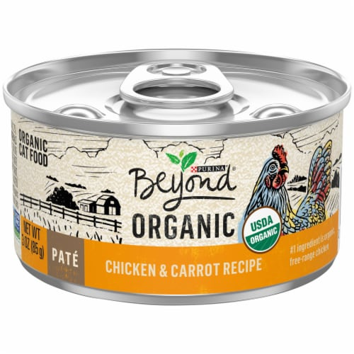 Beyond Organic Chicken & Carrot Recipe Pate Wet Cat Food Perspective: front