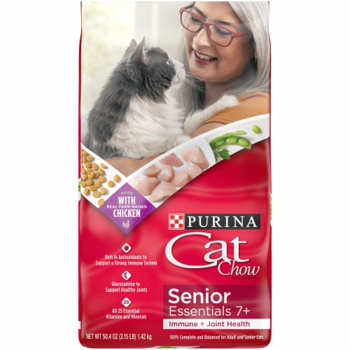 Purina Cat Chow Senior Essentials 7+ Immune + Joint Health Dry Cat Food Perspective: front