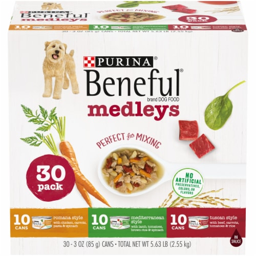 Purina Beneful Medleys Assorted Flavors Wet Dog Food Perspective: front