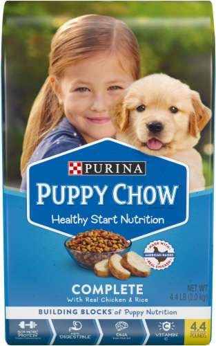 Puppy Chow Healthy Start Nutrition Complete with Real Chicken & Rice Dry Puppy Food Perspective: front
