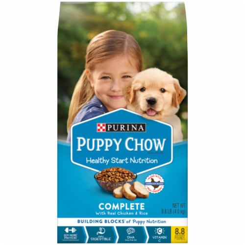 Purina Puppy Chow Healthy Start Nutrition Complete with Real Chicken & Rice Dry Dog Food Perspective: front