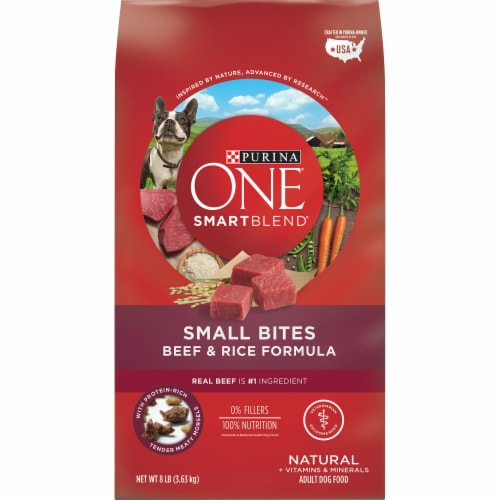Purina ONE SmartBlend Small Bites Beef & Rice Formula Dry Dog Food Perspective: front