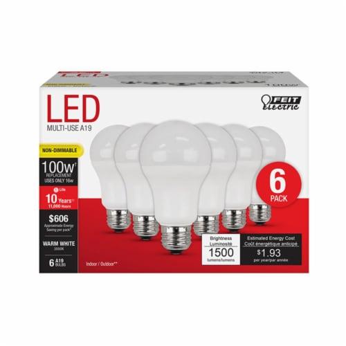 Feit Electric A19 E26 (Medium) LED Bulb Warm White 100 Watt Equivalence 6 pk - Case Of: 1; Perspective: front