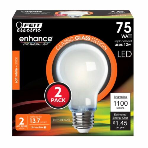 Feit Electric A19 E26 (Medium) Filament LED Bulb Soft White 75 watt Watt Equivalence 2 pk - Perspective: front