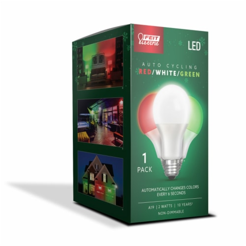 Feit Electric A19 E26 (Medium) Auto Cycling LED Bulb Green/Red/White 2 Watt Equivalence 1 pk Perspective: front