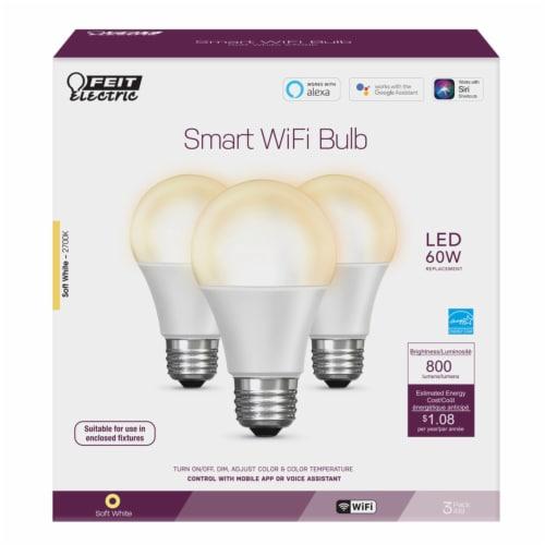 Feit Electric A19 E26 (Medium) LED Smart WiFi Bulb Soft White 60 Watt Equivalence 3 pk - Case Perspective: front