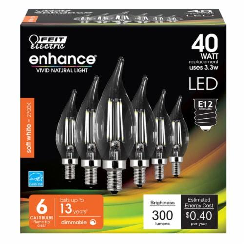 Feit Electric Enhance CA10 E12 (Candelabra) Filament LED Bulb Soft White 40 Watt Equivalence Perspective: front