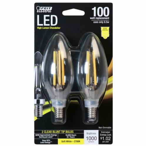 Feit Electric Blunt Tip E12 (Candelabra) Filament LED Bulb Soft White 100 Watt Equivalence 2 Perspective: front