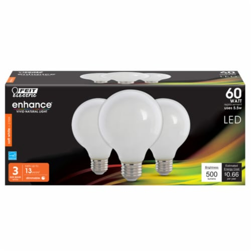 Feit Electric Enhance G25 E26 (Medium) Filament LED Bulb Soft White 60 Watt Equivalence 3 pk Perspective: front