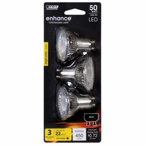 Feit Electric Enhance MR16 GU10 LED Bulb Bright White 50 Watt Equivalence 3 pk - Case Of: 1; Perspective: front