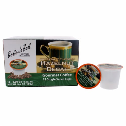 Hazelnut Decaf Gourmet Coffee by Bostons Best for Unisex - 12 Cups Coffee Perspective: front