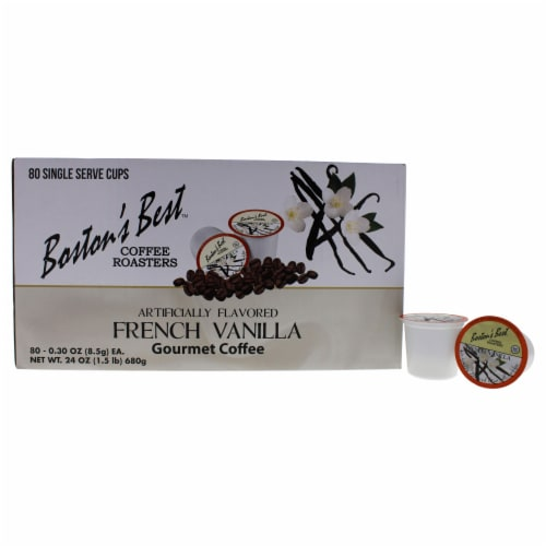 French Vanilla Gourmet Coffee by Bostons Best for Unisex - 80 Cups Coffee Perspective: front