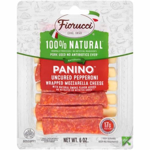 Fiorucci 100% Natural Uncured Pepperoni Panino Wrapped Mozzarella Cheese Perspective: front