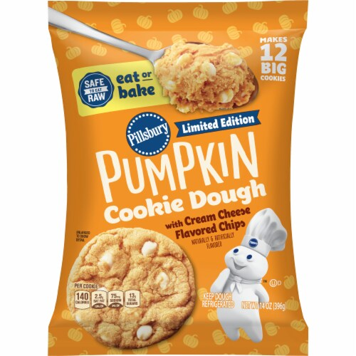 Pillsbury Ready to Bake! Pumpkin with Cream Cheese Flavored Chips Cookie Dough Perspective: front