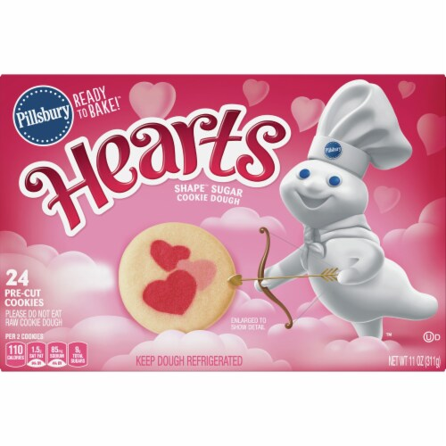 pillsbury ready to bake heart shape valentine cookies dough image perspective front