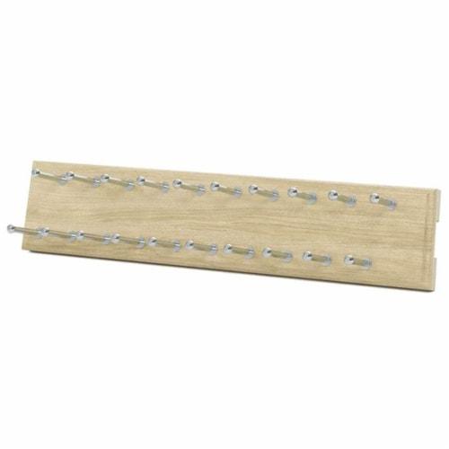 Easy Track 14 Inch 20 Hook Sliding Tie Hanger Closet Storage Rack, Honey Blonde Perspective: front