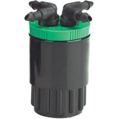 Raindrip QB20UB 20 Gp 4-Outlet Bubbler  Green  for Drip Irrigation Perspective: front