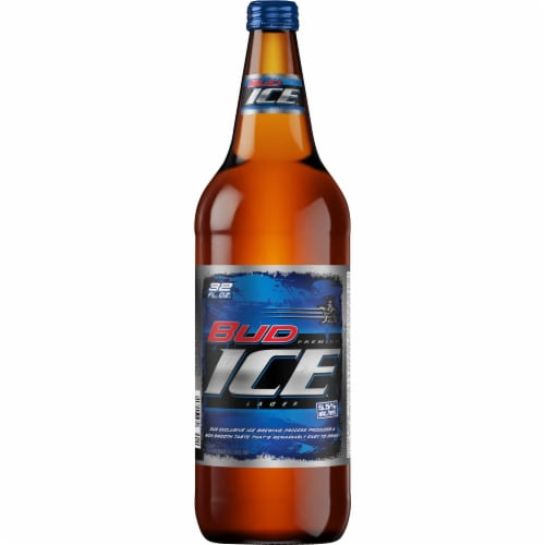 Bud Ice Lager Beer Perspective: front