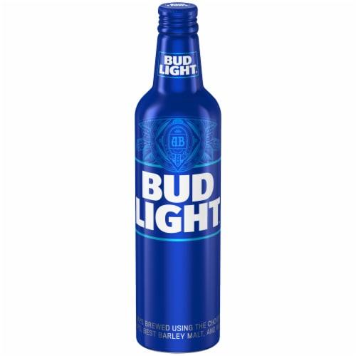 Bud Light Lager Beer Aluminum Bottle Perspective: front